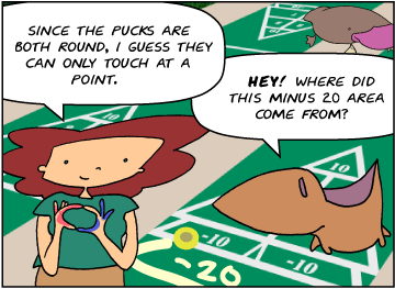 Bridget: Since the pucks are both round, I guess they can only touch at a point. | Meg: Hey! Where did this minus 20 point area come from? | Zeke tip-toes away, covered in finger paints.