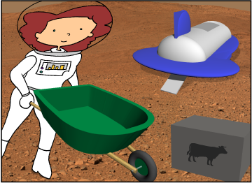 Bridget unloads fertilizer into a wheelbarrow from a space plane.